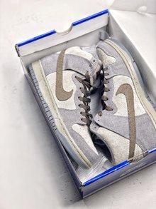图1_Nike Dunk High Premium SB 星球大战 NikeSB推出的这款Dunk Hi Pro 其灵感来自于StarWars中霍斯星球上独有的Tauntaun雪兽 整体鞋面选用了高档小山羊皮制作而成 并以深浅灰色tone呈现 货号 313171 020 SIZE 36 45
