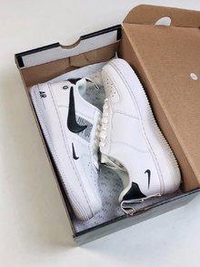图1_耐克创意联名 Nike Air Force 1 Low 空军经典低帮板鞋 串标白黑多勾 头层荔枝纹牛皮 内置气垫size 36 36 5 37 5 38 38 5 39 40 40 5 41 42 42 5 43 44