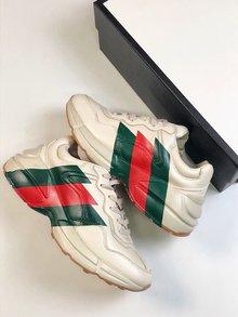 图1_性价比版本 男女鞋 高奢品牌Gucci古驰 Rhyton Vintage Trainer Sneaker 皮革角状复古慢跑鞋 象牙白三切绿红绿 size 36 45