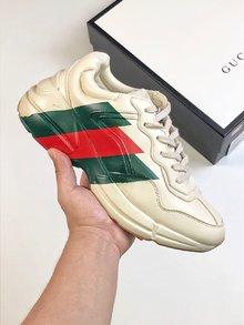 图2_性价比版本 男女鞋 高奢品牌Gucci古驰 Rhyton Vintage Trainer Sneaker 皮革角状复古慢跑鞋 象牙白三切绿红绿 size 36 45