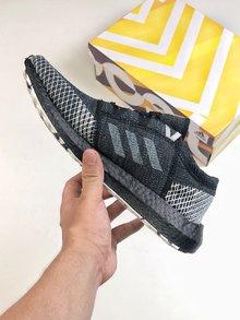 图3_Adidas Pure Boost GO巴斯夫鱼鳞纹爆米花中底系列慢跑鞋跑翻街头 GO黑灰配色 彭于晏上脚同款size 36 45