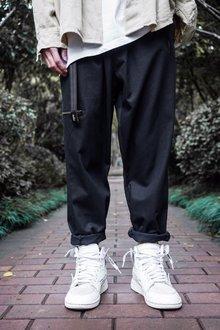 图2_Nike耐克海外版宽松飘带直筒工装裤 竖标logo别具一格 定制飘带 男女同款 可配情侣面料 工装沙卡颜色 黑 卡其尺码 M L XL