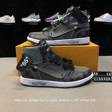 图1_真标 带半码 耐克NIKE Nike Air Jordan AJ1 Nike Air Jordan AJ1 x Louis Vuitton x Off White OW联名客制版路易威登LV 乔丹一代 高帮 时尚百搭板鞋 货号 2155328