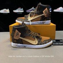 图2_真标 带半码 耐克NIKE Nike Air Jordan AJ1 Nike Air Jordan AJ1 x Louis Vuitton x Off White OW联名客制版路易威登LV 乔丹一代 高帮 时尚百搭板鞋 货号 2155328