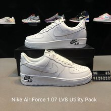 图2_创意联名 后跟提带设计 耐克Nike Air Force 1 07 LV8 Utility Pack空军一号经典百搭板鞋 黑白小勾 货号 0128222